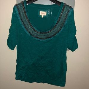 Anthropologie Green Embellished Top size small